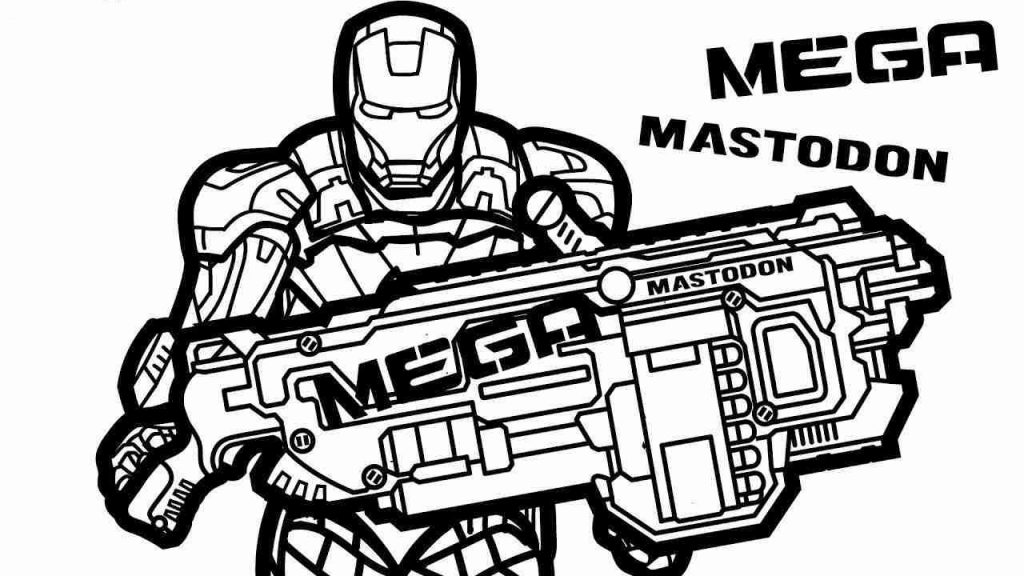 Mega Iron Man Nerf Gun Coloring Pages