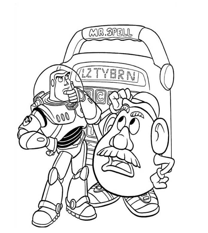 Mr Potato Head And Buzz Lightyear Coloring Page