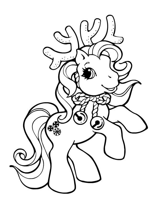 My Little Pony Reindeer Christmas Coloring Page