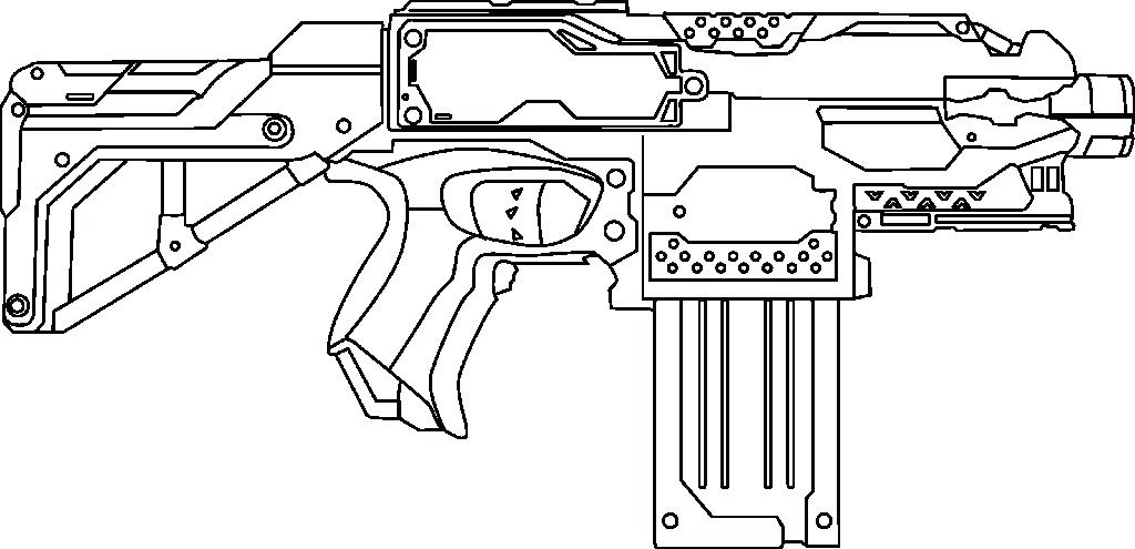 Nerf Gun Drawing Coloring Pages