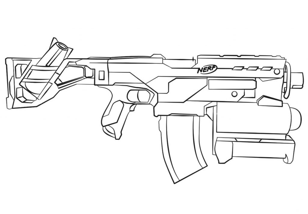 Nerf Gun Sketch Coloring Pages