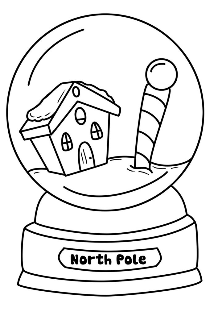 North Pole Snowglobe Coloring Page