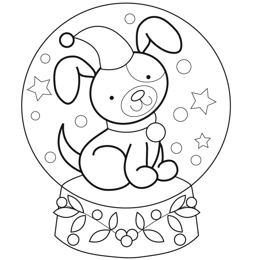 Puppy Snowglobe Coloring Page