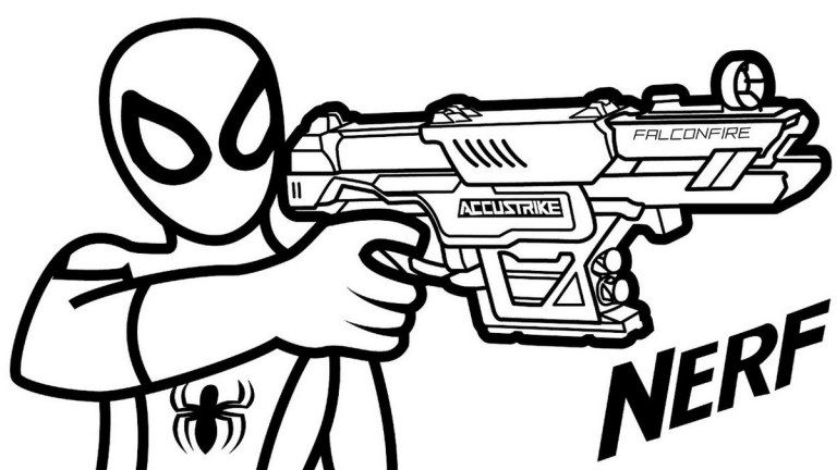 Spiderman Nerf Gun Coloring Pages