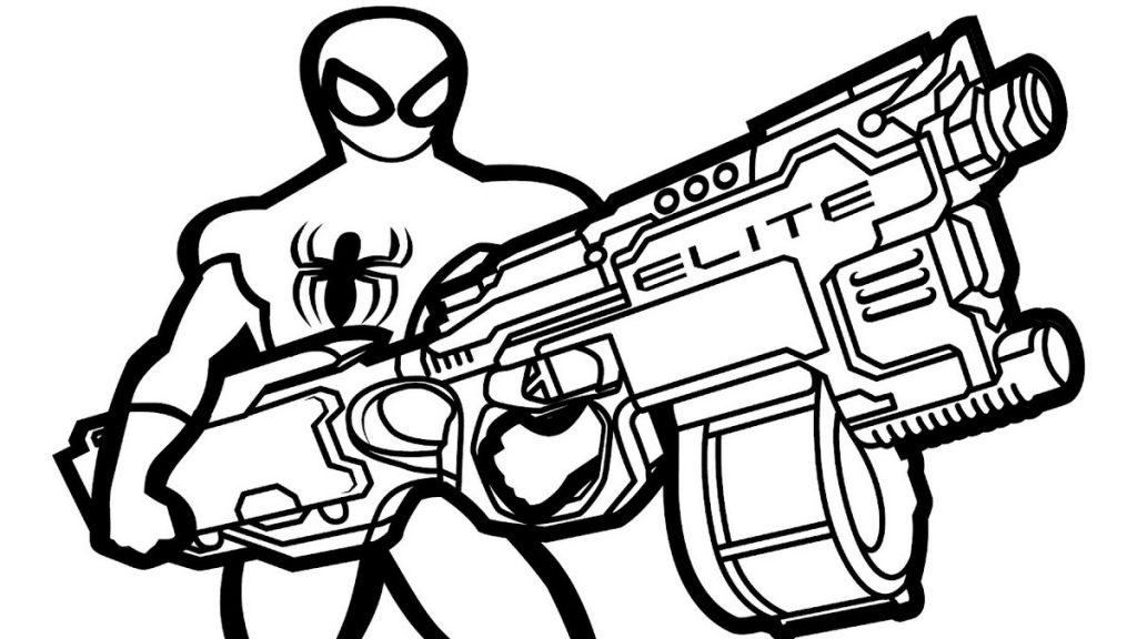 Spiderman Nerf Gun Elite Coloring Pages