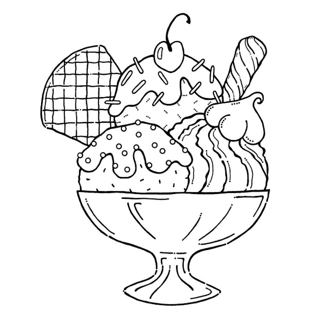 Sundae Dessert Coloring Page