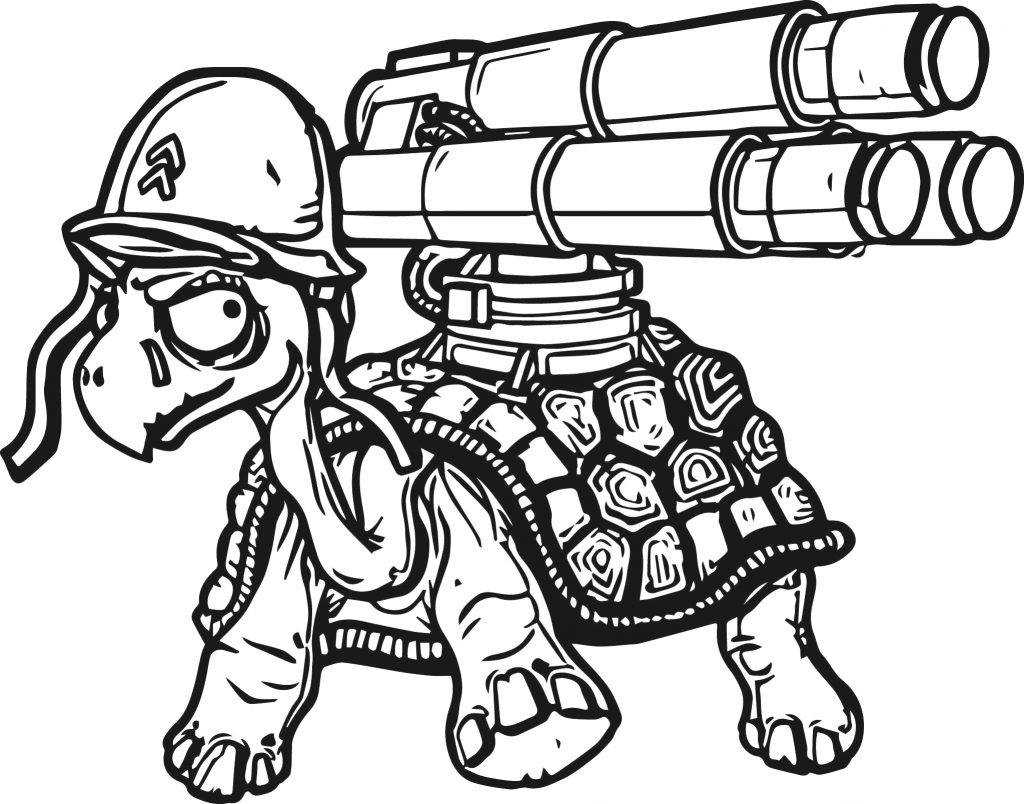 Tortoise Nerf Gun Coloring Pages