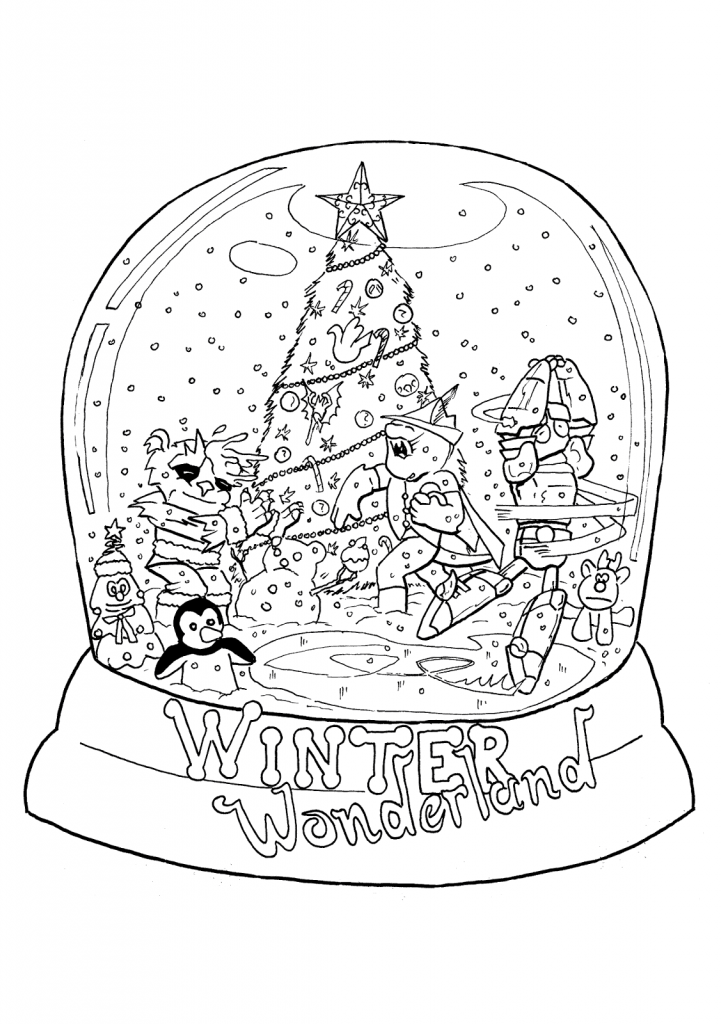 Winter Wonderland Snowglobe Coloring Page
