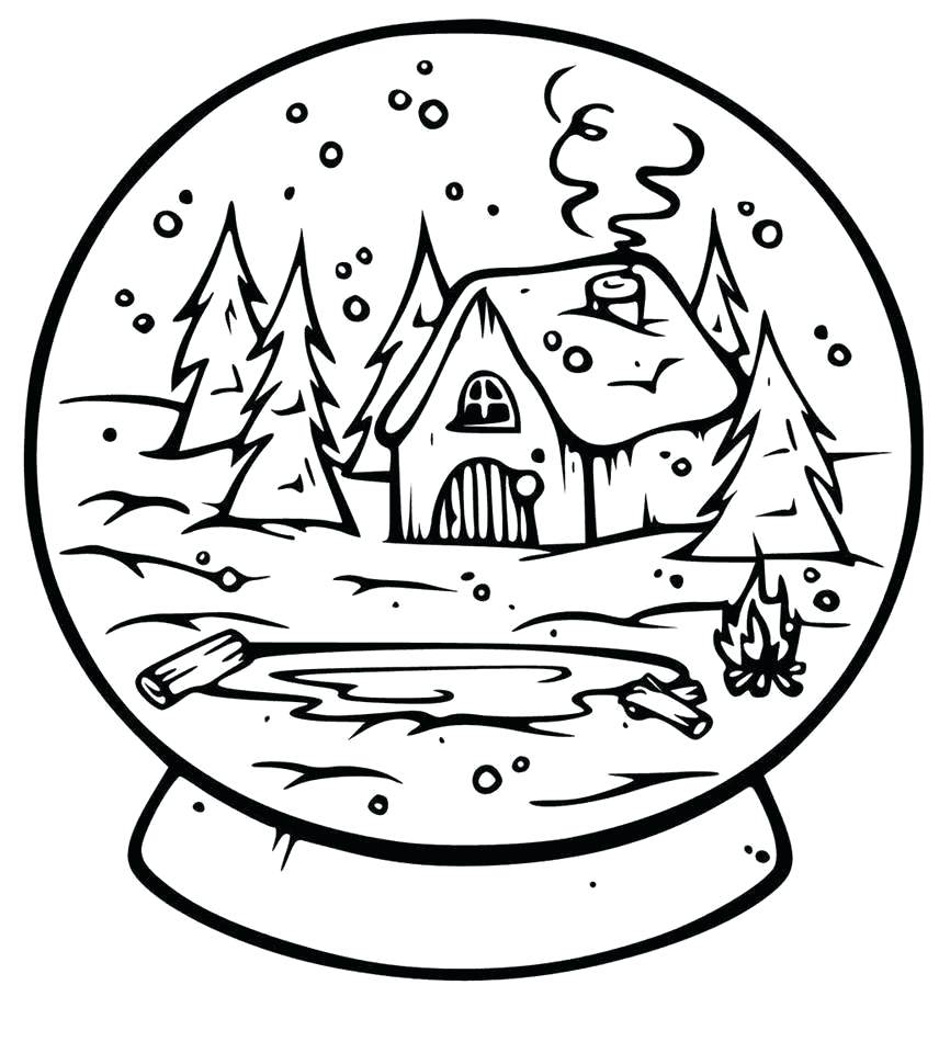 Winter In The Woods Snowglobe Coloring Page