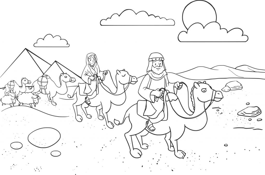 Abraham And Sara Traveling Coloring Page