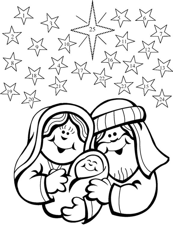 Story of Advent Calendar Coloring Pages | Advent coloring calendar ... | 760x576