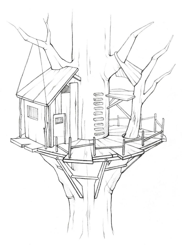 Awesome Treehouse Coloring Page