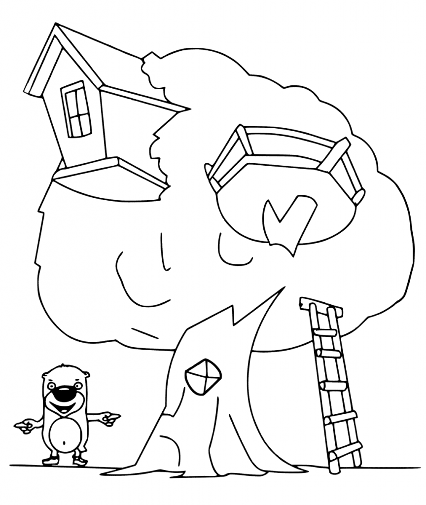 Bears Treehouse Coloring Page