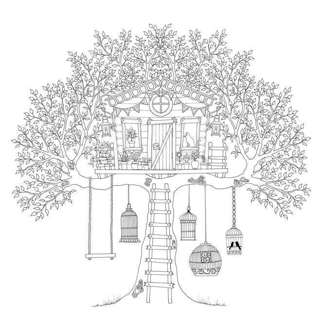 Beautiful Treehouse Coloring Page
