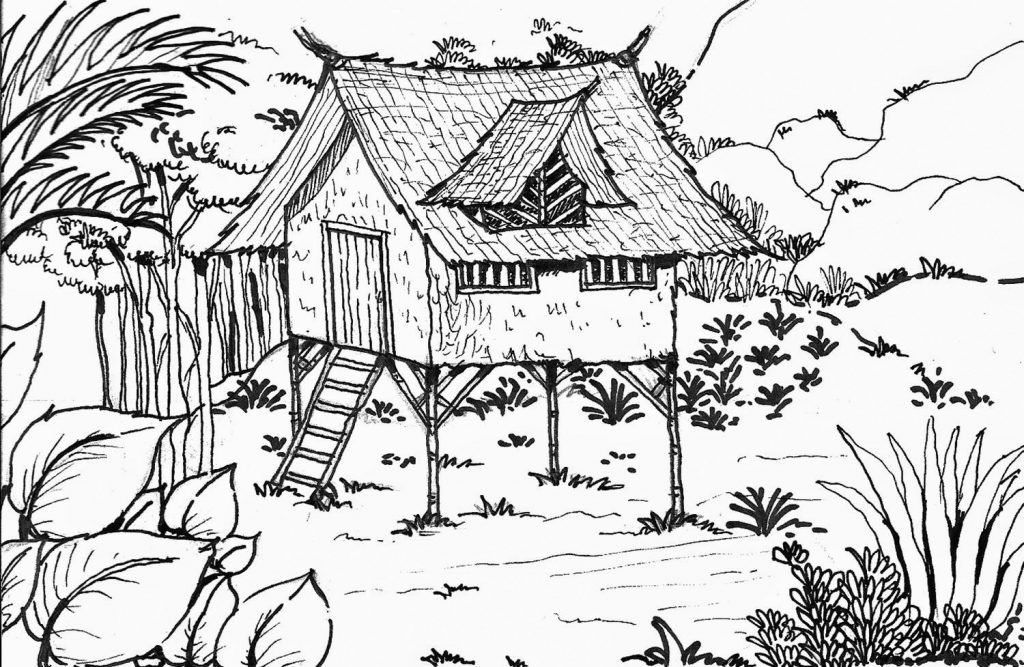 Cabin In The Forest Coloring Page