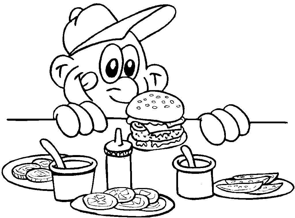 Cartoon Man With Delicious Hamburger Coloring Pages