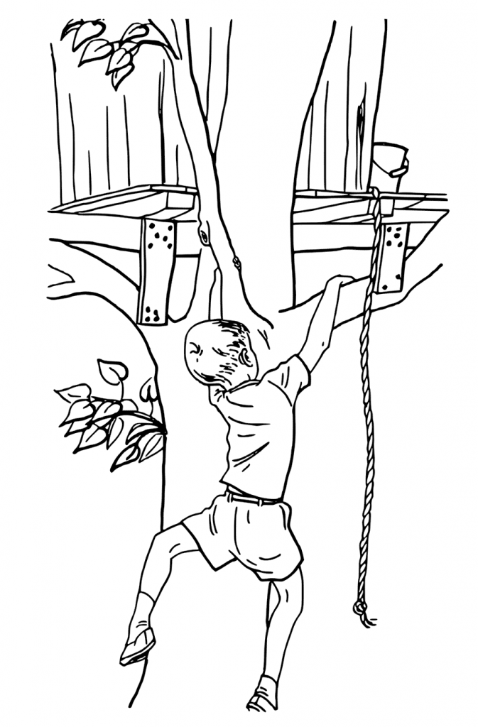 Climbing Treehouse Coloring Page