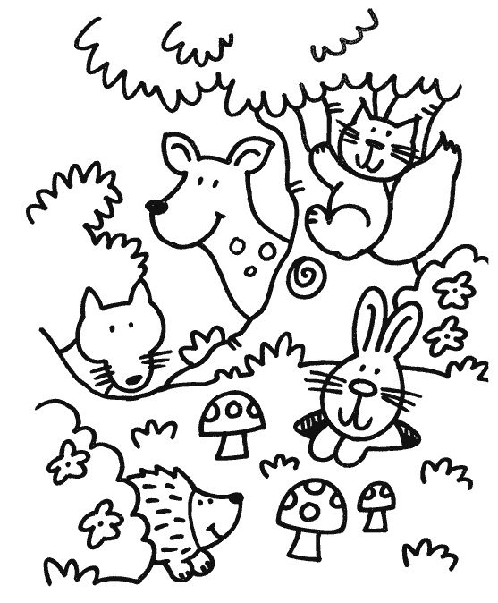 Cute Forest Animals Coloring Page