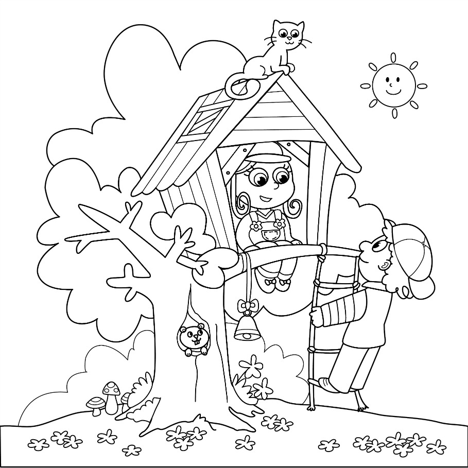 Cute Treehouse Coloring Pages