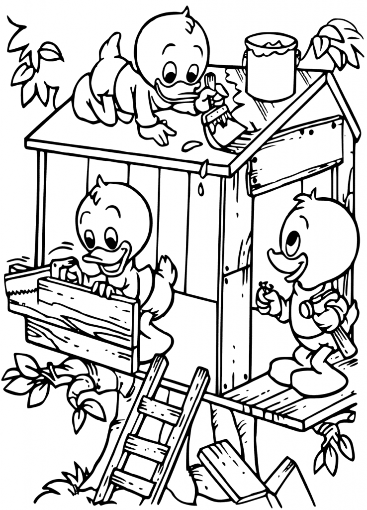 Ducks Building Treehouse Coloring Page