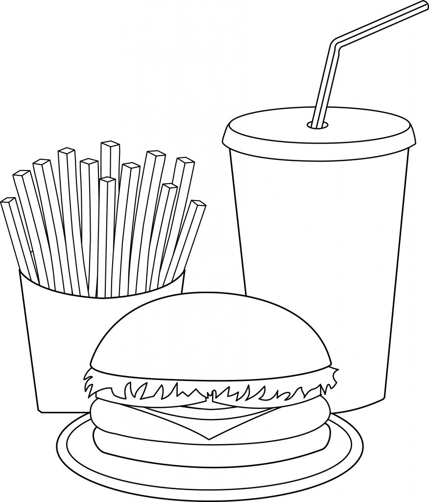 Fast Food Hamburger Meal Coloring Pages