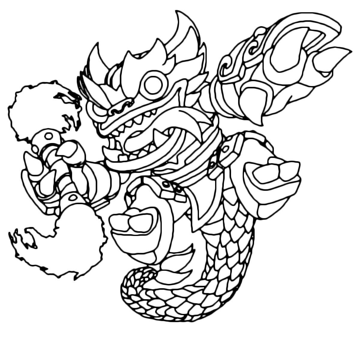 Printable coloring page for kids with Skylanders Swap Force NIGHT ... | 1144x1200