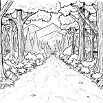 Forest Pathway Scene Coloring Page