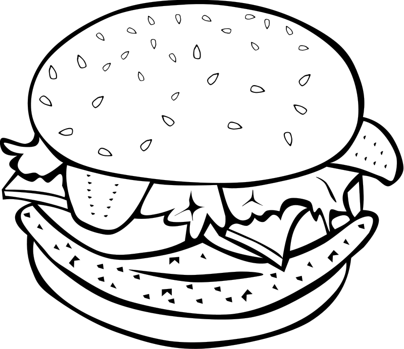 Hamburger With Toppings Coloring Pages