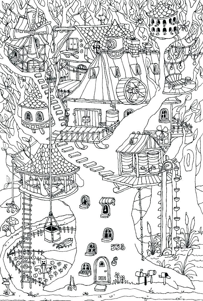 Hard Treehouse Coloring Page