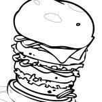 High Stacked Hamburger Coloring Page