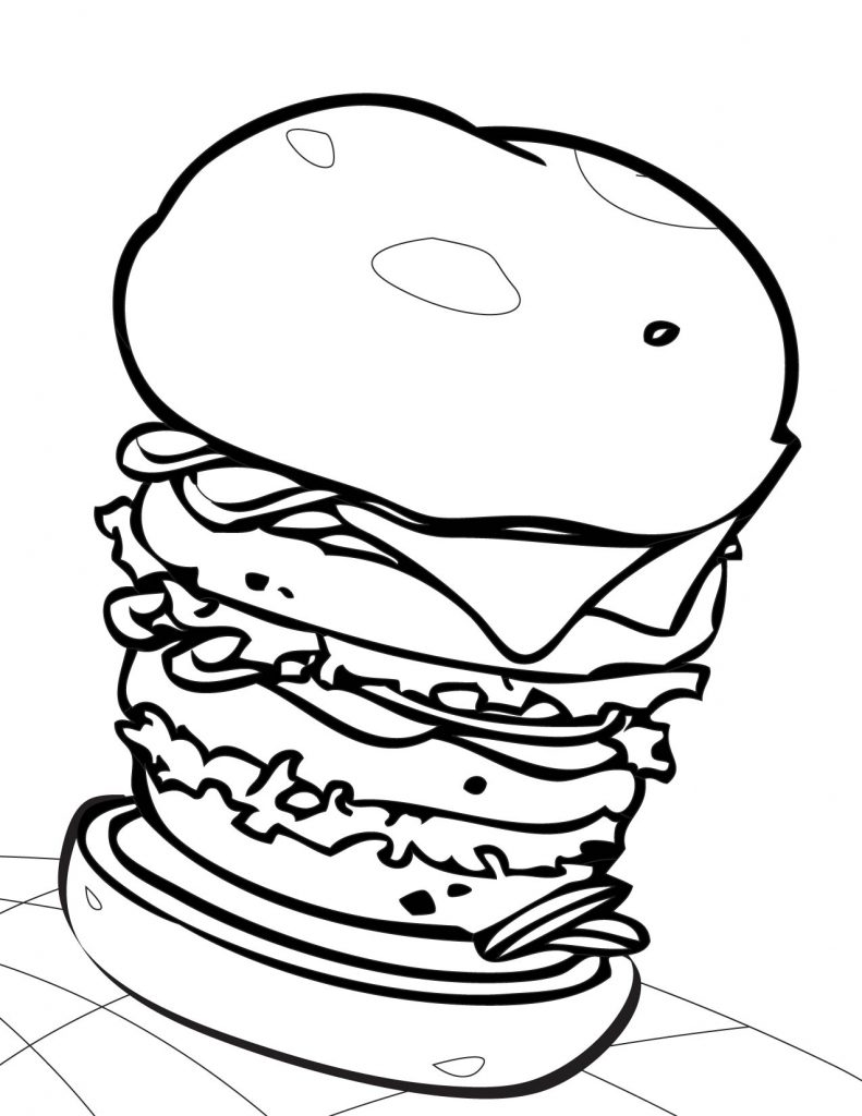 High Stacked Hamburger Coloring Page