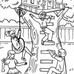 Kids Playing In Treehouse Coloring Page