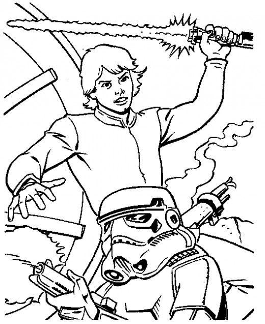Luke Skywalker And Storm Trooper Coloring Pages
