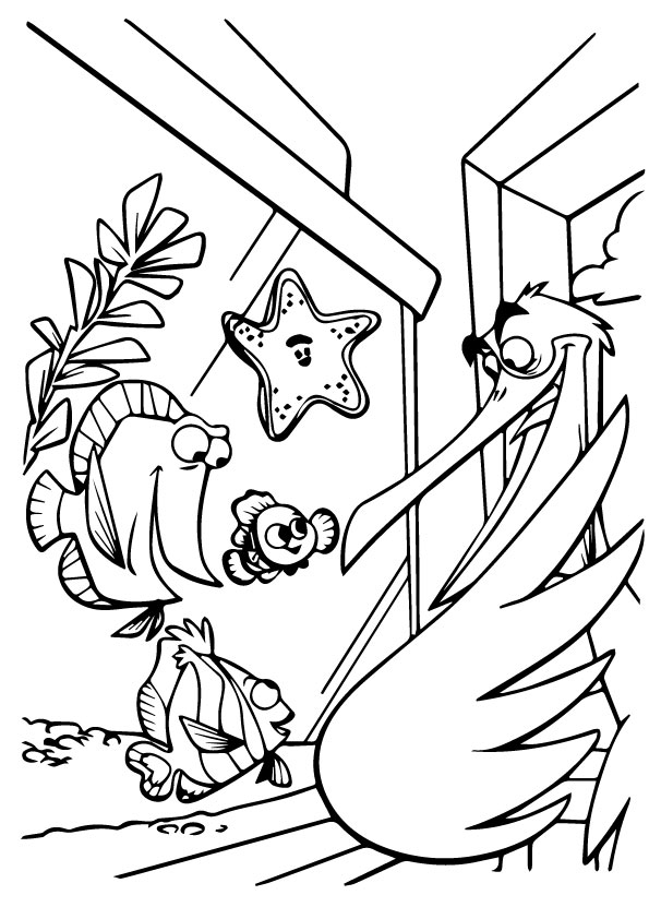 Nemo In Aquarium Coloring Pages