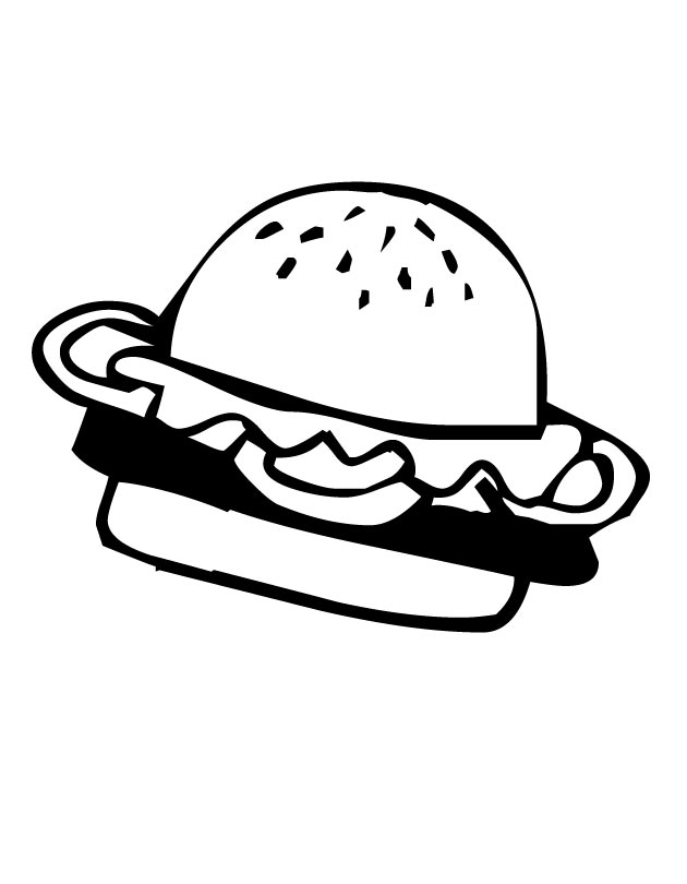 Simple Hamburger Art Coloring Pages