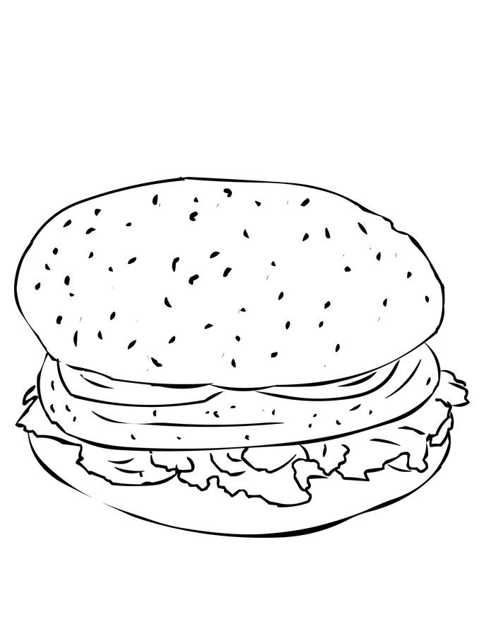 Single Hamburger Coloring Page