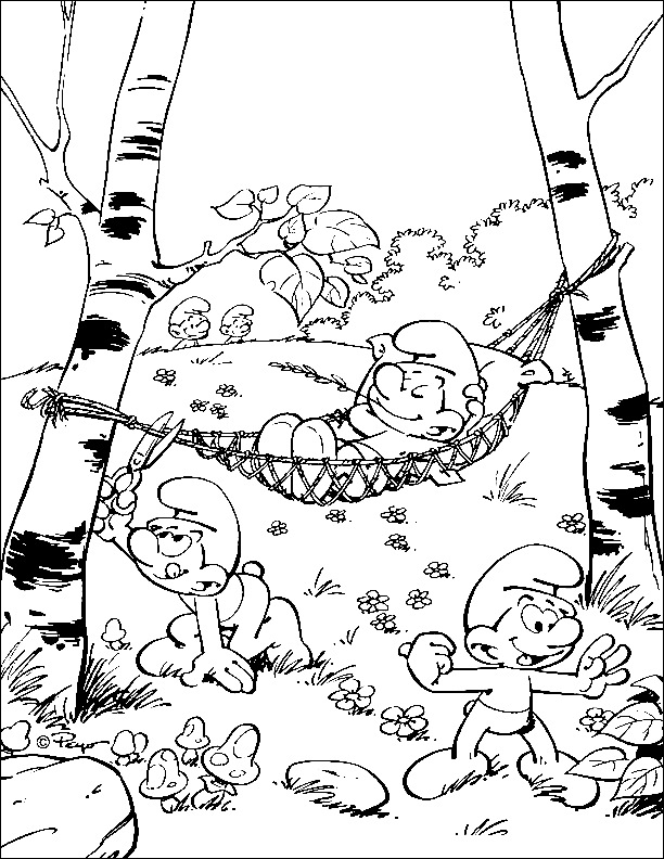 Smurf Forest Coloring Page