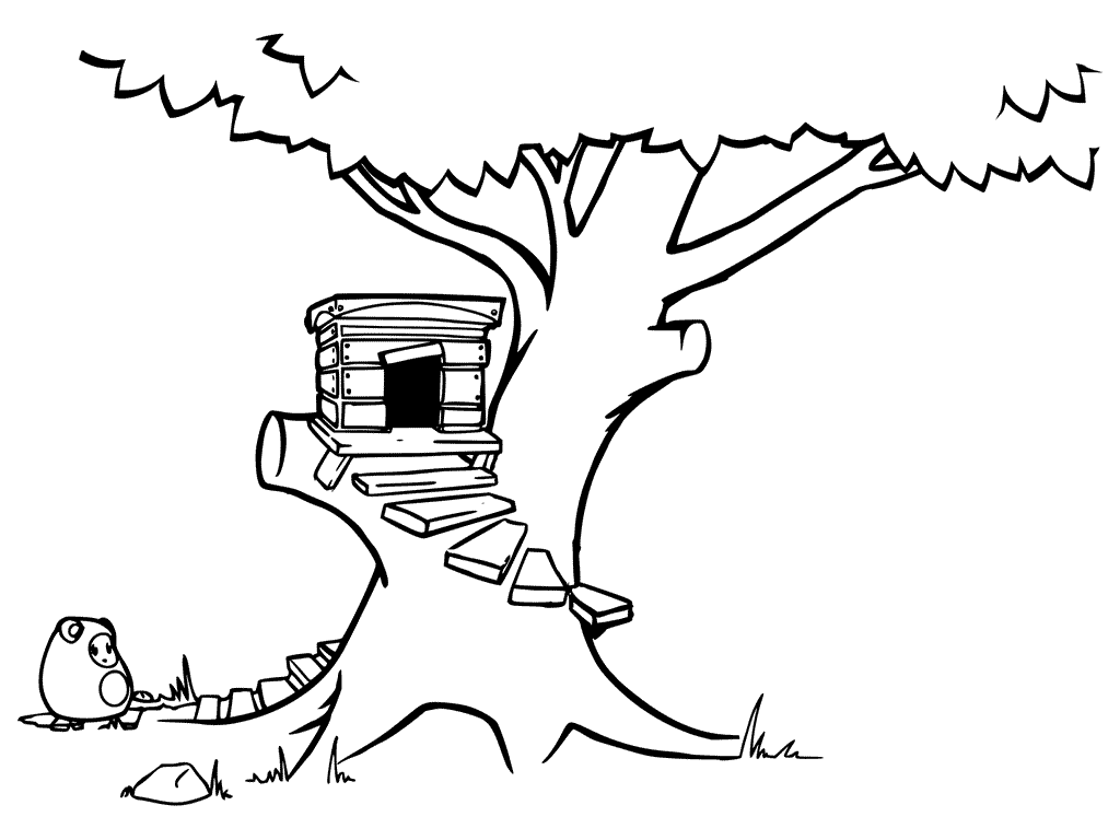 Steps To Treehouse Coloring Page