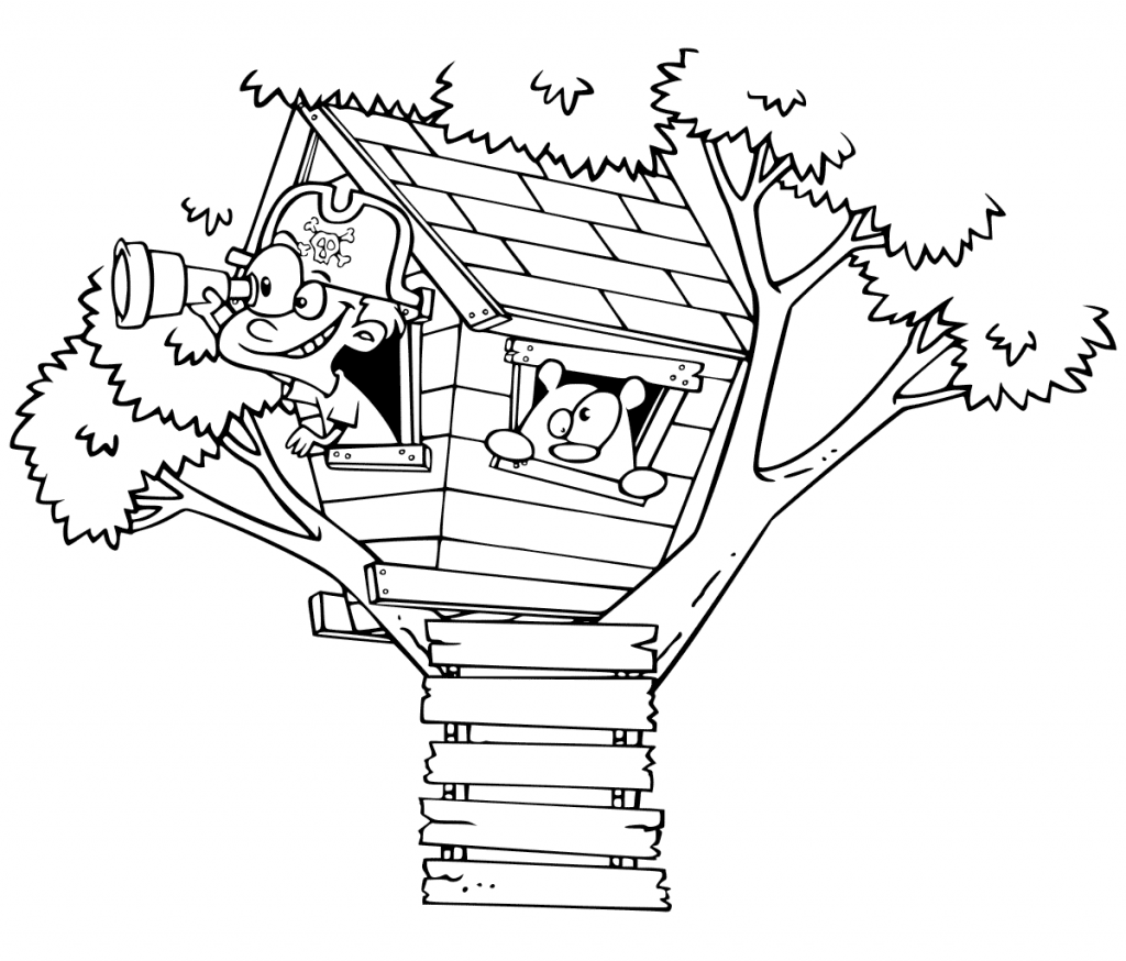 Treehouse Lookout Coloring Page