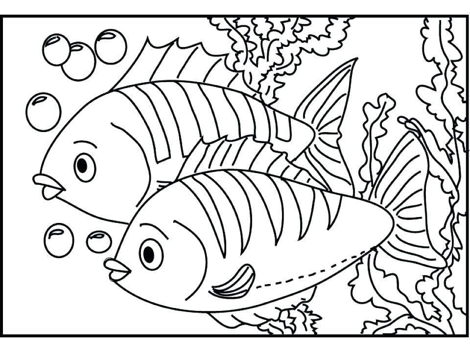Two Fish In Aquarium Coloring Pages