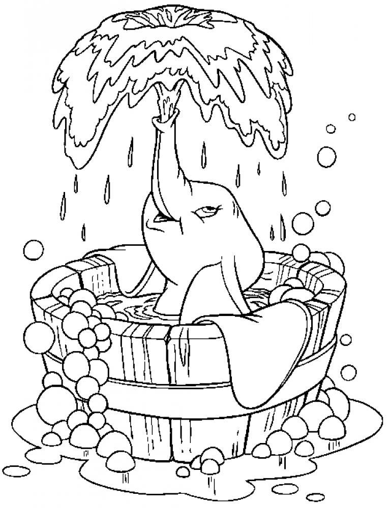 Dumbo Takes A Bath Coloring Page