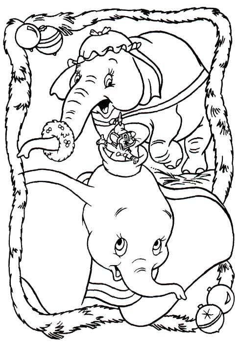 Dumbo And His Mom Coloring Page