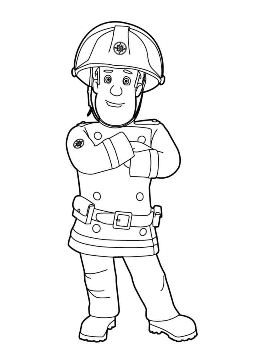 Fireman Sam is hero cartoon coloring pages for kids, printable free | 1134x877