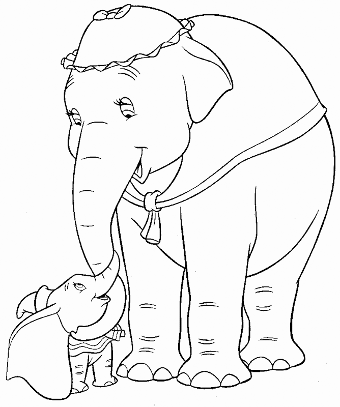 Mrs Jumbo Loves Dumbo Coloring Page