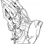 Praying With Rosary Coloring Pages