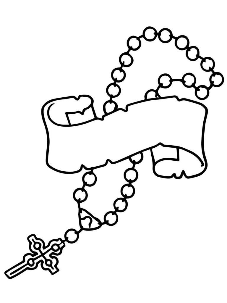 Rosary With Banner Coloring Page
