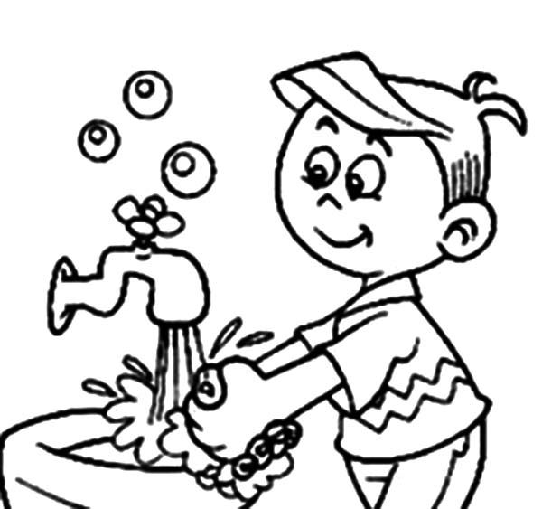 Boy Washing Hands Coloring Page