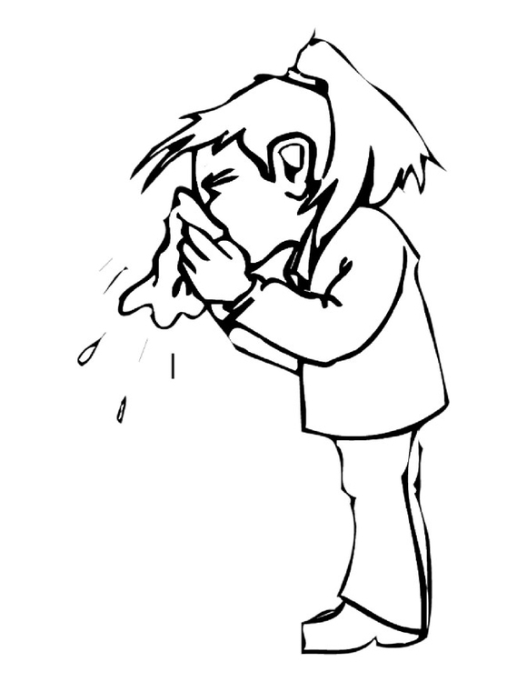 Cover Germs When You Sneeze Coloring Page