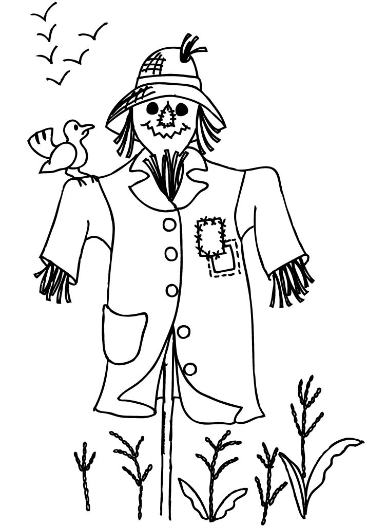 Crow And Scarecrow Coloring Page