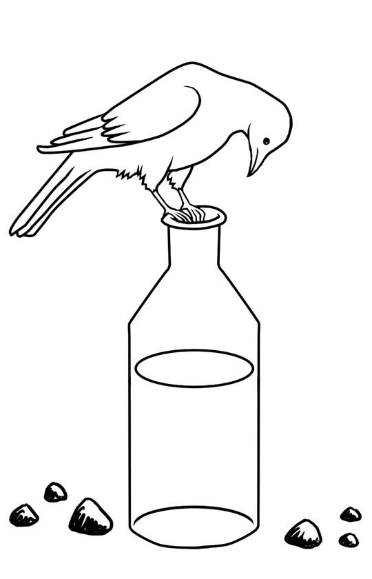 Crow On A Bottle Coloring Page